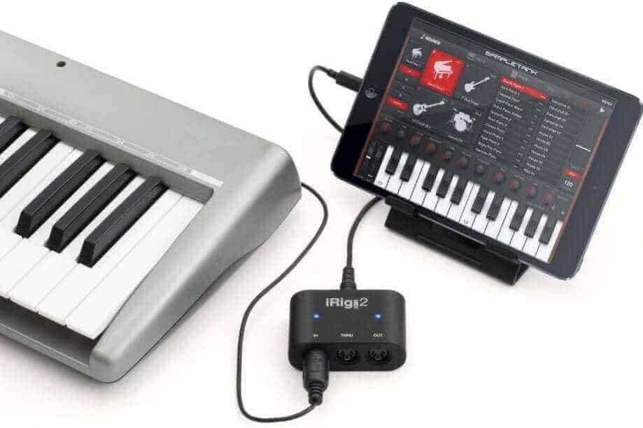 Figure 7 Connecting electronic piano to iPad with iRig2 interface
