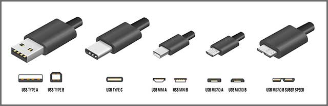 An image of standard USB type A and type B