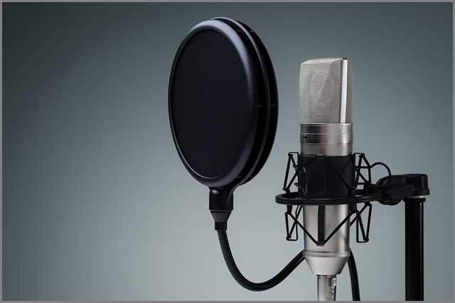 An image of a studio microphone pop shield on mic