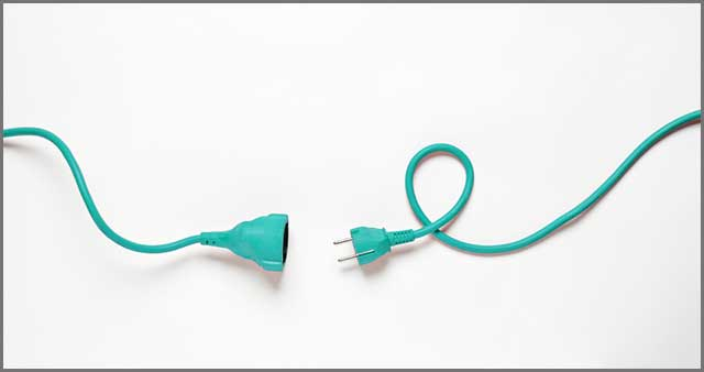 An image of Turquoise power cable isolated on white background.