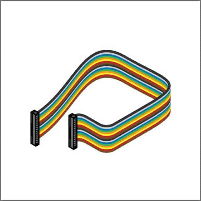 An image of rainbow ribbon computer cable