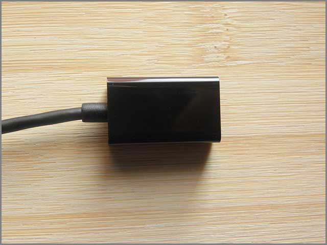 An image of black color female USB extension cable