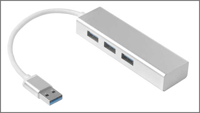 An image of splitter USB sliver shiny on white