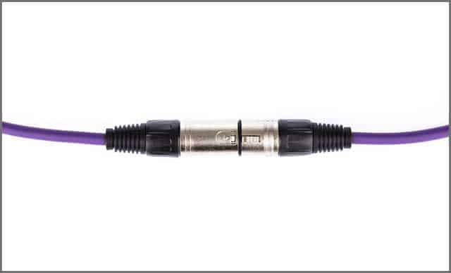 purple XLR cable isolated on white