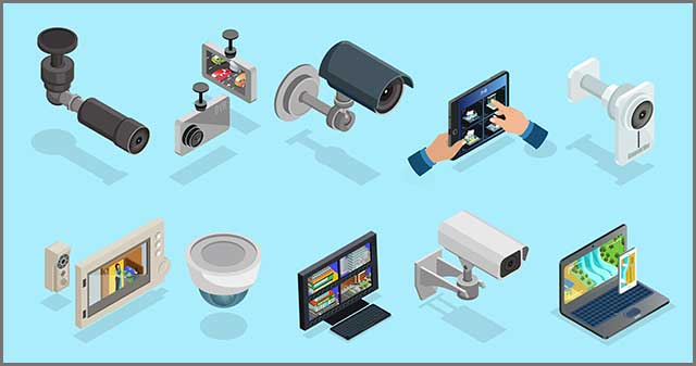 CCTV elements collection with security cameras electronic devices