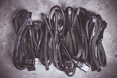 An image of PSU cables computer power supply