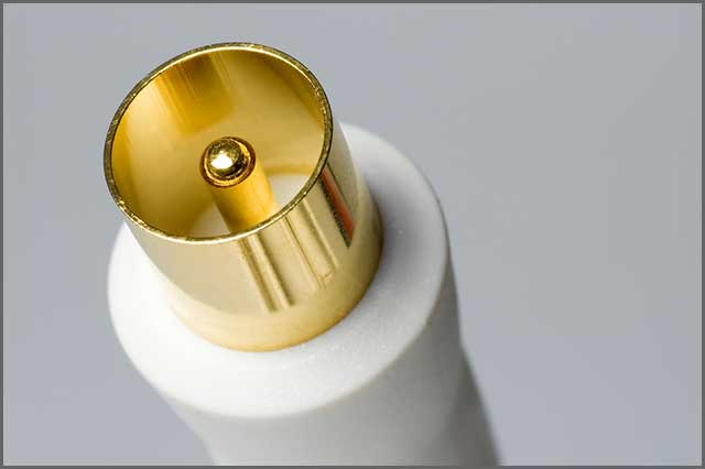 An image of white coaxial cable television