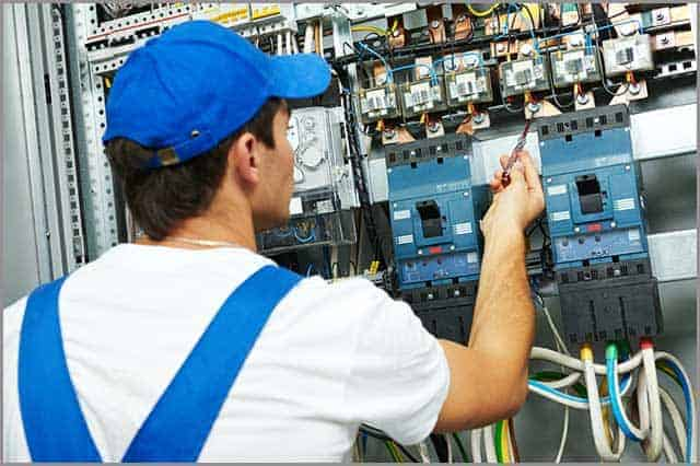 Electrician worker checking