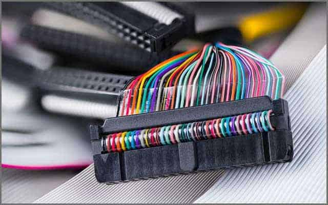 An image of colored multiwire connector ribbon cables