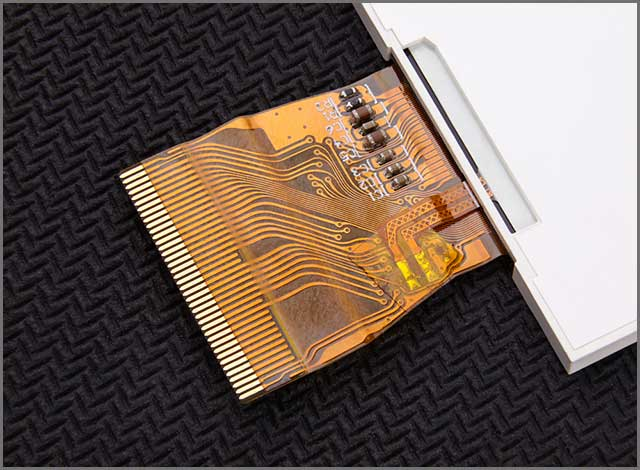 An image of a flexed printed circuit board