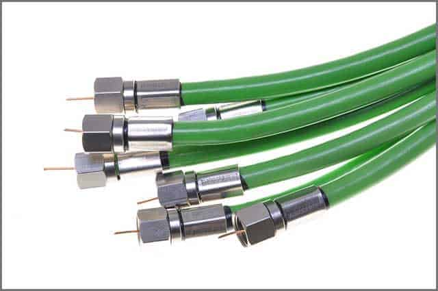 Green Coaxial Cable with TV White Connector