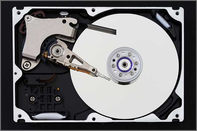 Hard disk drive with removed cover, hdd inside flat view, ribbon cable