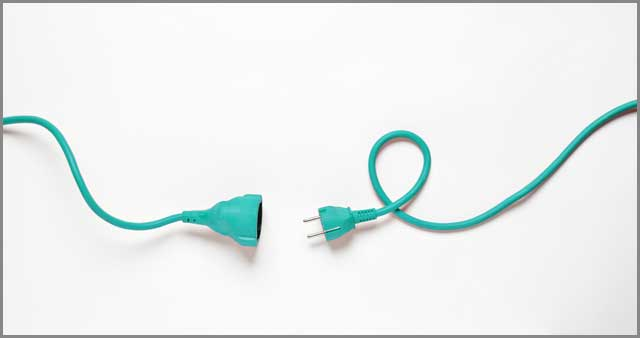 Turquoise power cable isolated on white