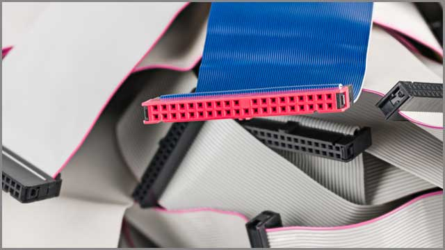 Blue parallel multi wire ribbon cable with pink connector