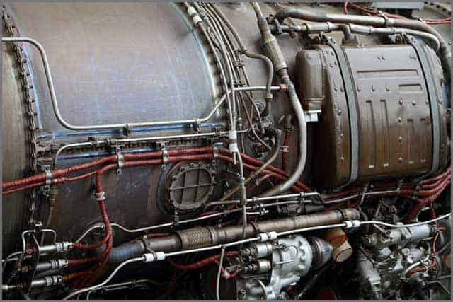 Pipelines and electric cables on the body of a modern aircraft engine