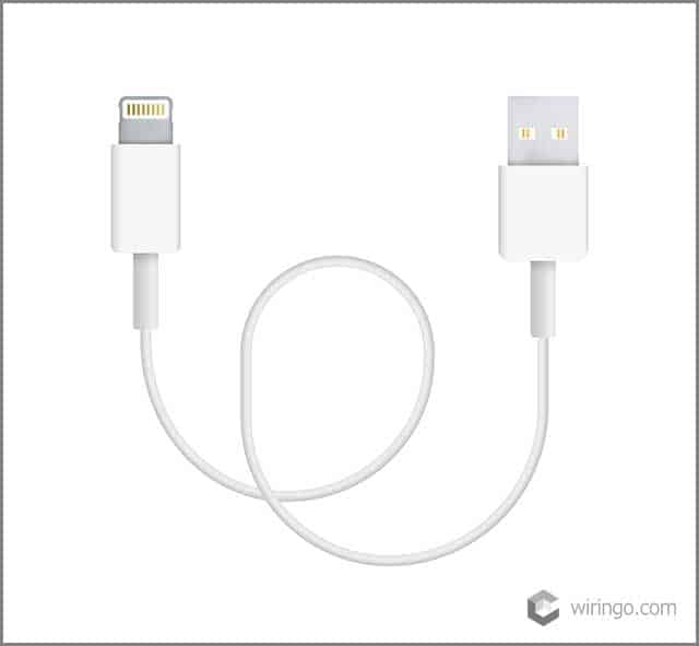 The realistic vector illustration of lightning to USB cable