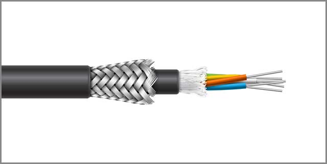 Fiber optic cable braided armored shield