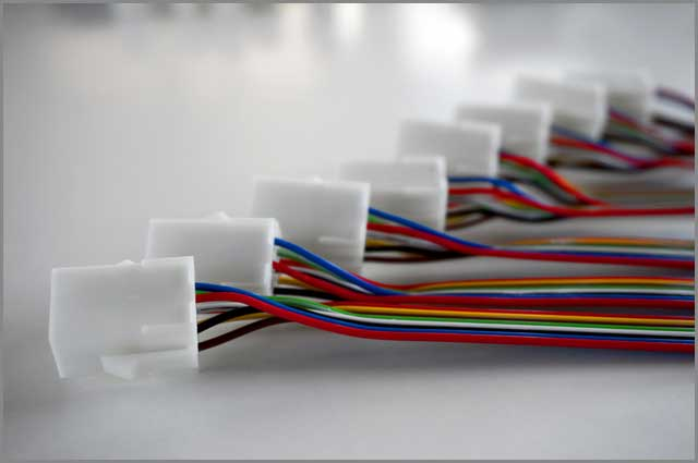Colorful wire harnesses plastic connectors