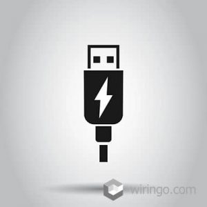 USB cable icon in flat style