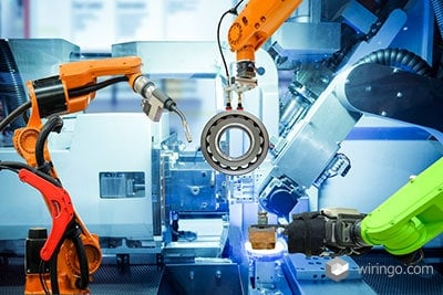 Industrial robotic welding and robot gripping working on smart factory