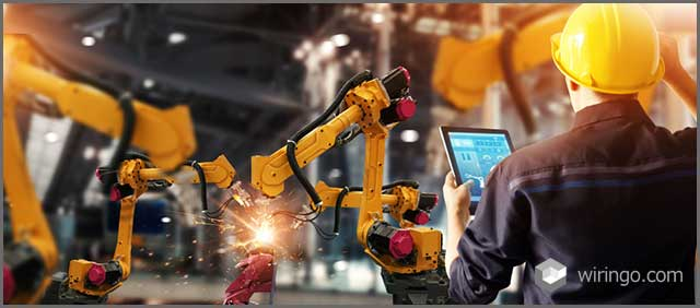 Engineer check and control welding robotics automatic arms