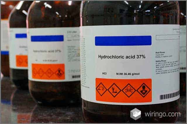 Bottle of Hydrochloric Acid, HCL with Properties information