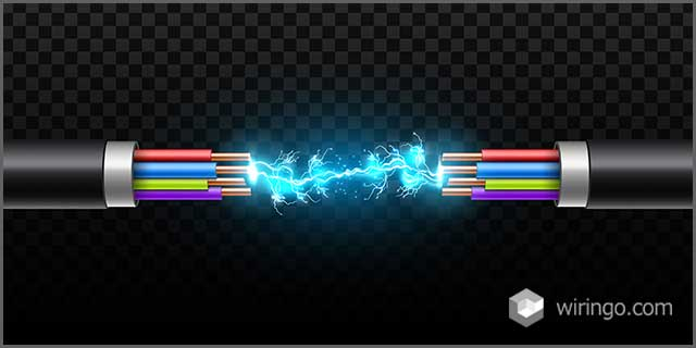 Electric glowing lightning between colored brake cables