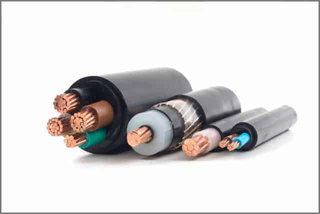 Power cables electrical in different sizes