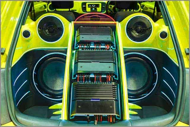 Audio System with Amplifiers and LCD Monitors in a Car Trunk