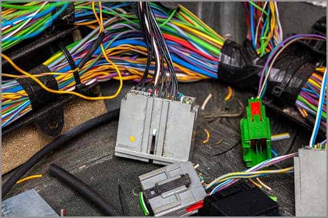 Terminal Boxes and Multi-colored Electric Wires of an Automobile Wiring with the Removed Internal Covering