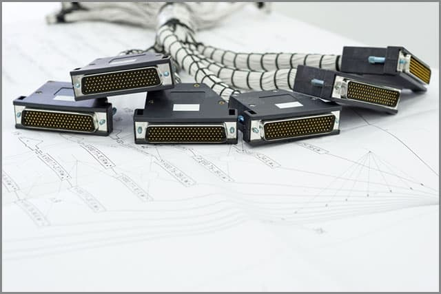 A Bundle of D-sub Connectors in A Cable Harness