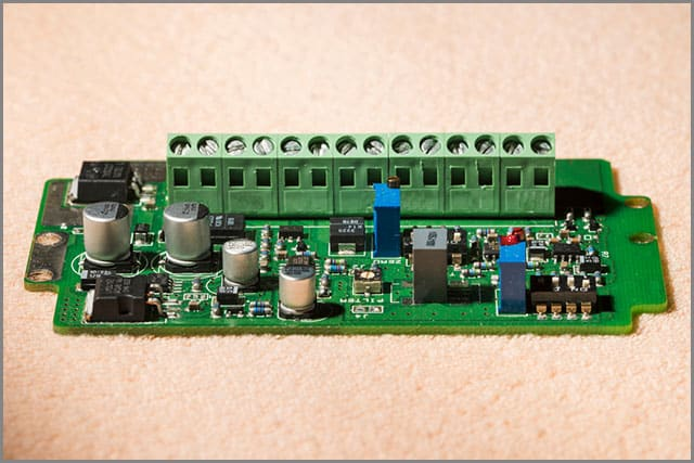 A Printed Circuit Board with a PCB mount terminal connector