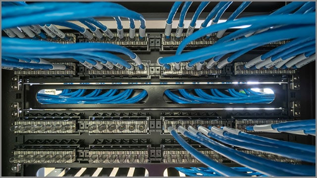 Network cable in a rack