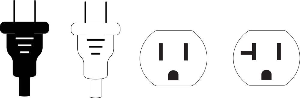 Electrical 2 prong plugs next to a NEMA 5-15 grounded power, and AFCI Outlet