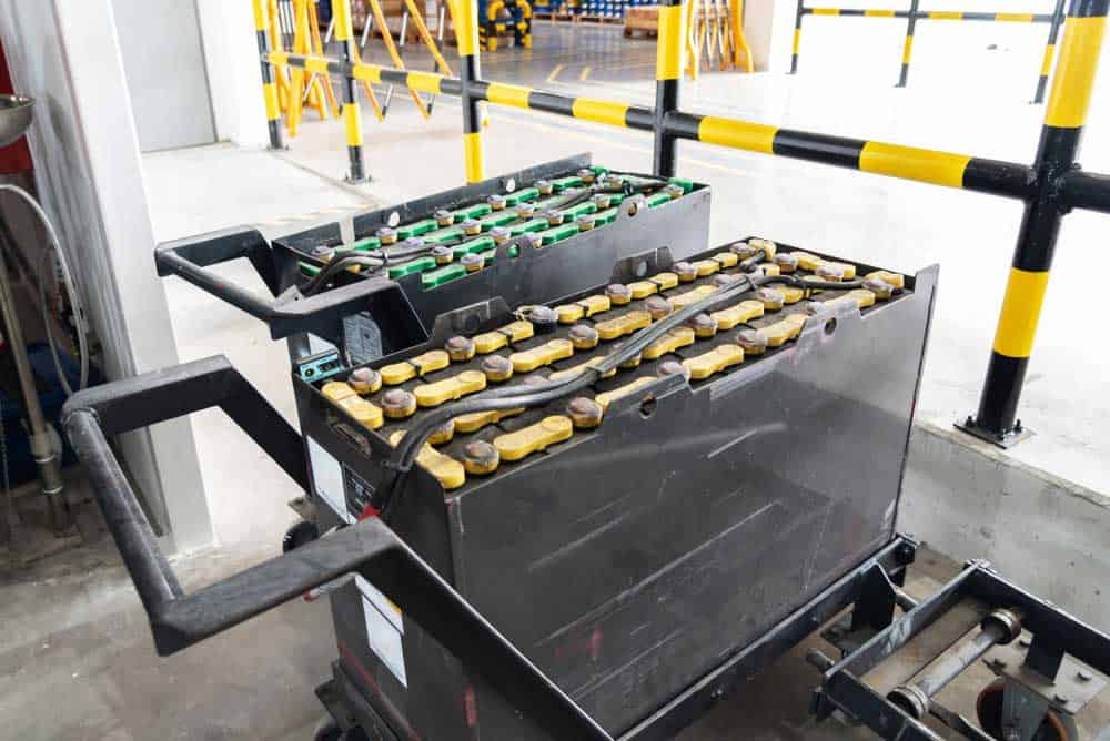 Forklift battery ready for replacement