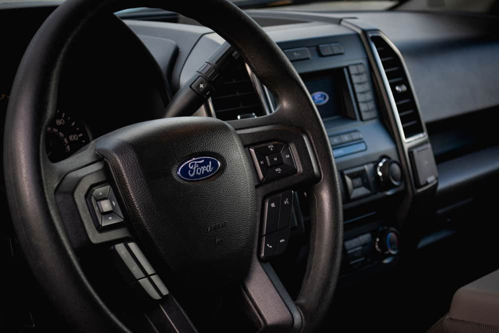 Ford F-150 stock dashboard.