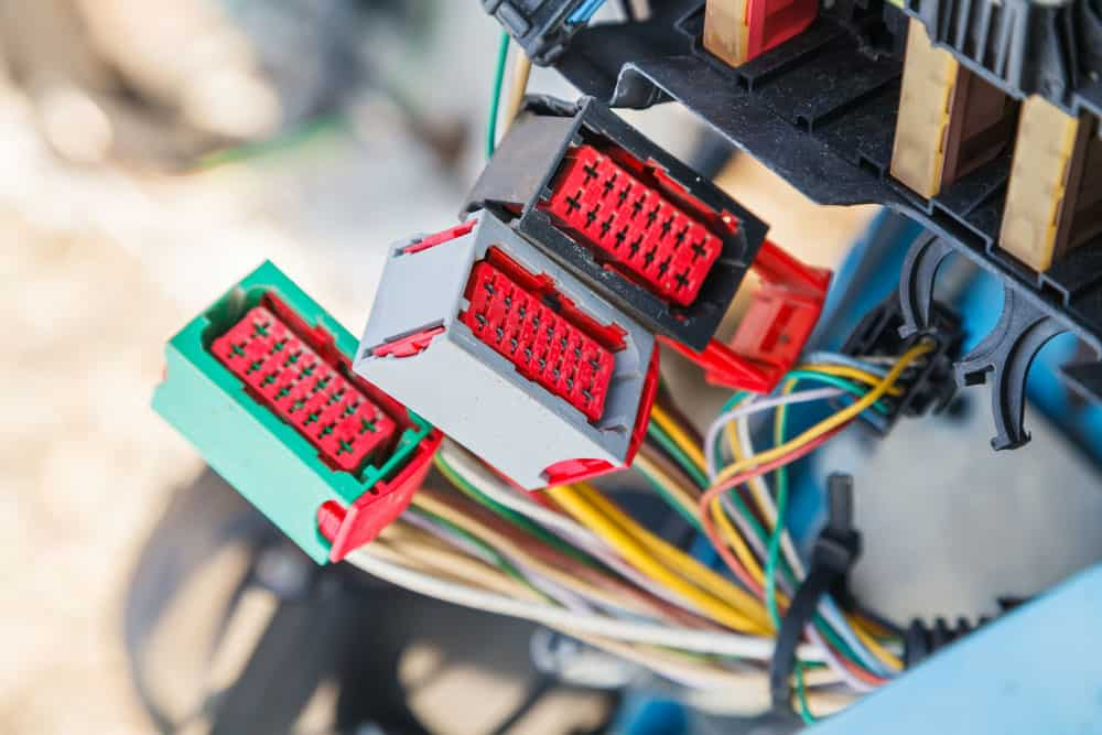 A car's electrical system close up