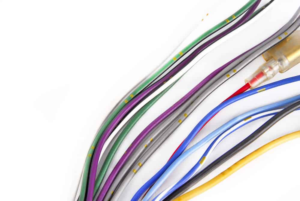 A car's audio system wiring cable