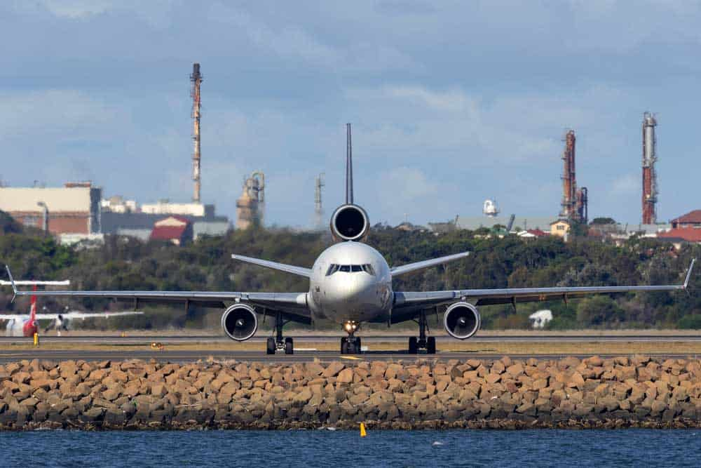 MD-11 airplane on the taxiway