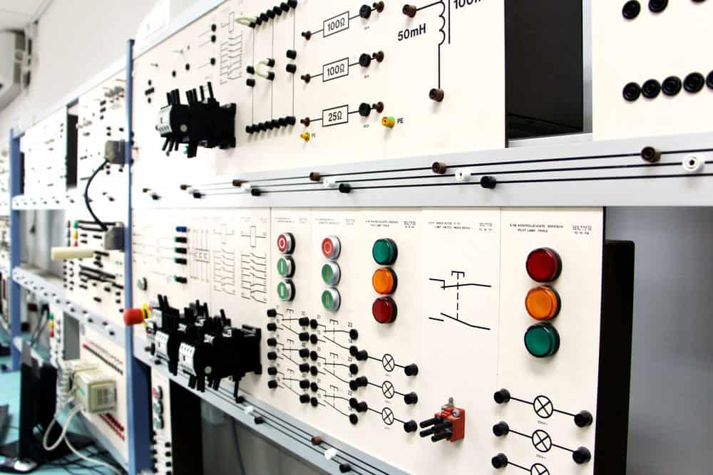 A control panel in an electronics lab
