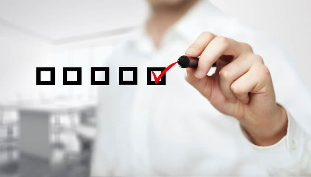 An illustration of a checklist with the completed first step